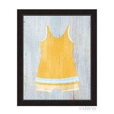 """Click Wall Art Vintage Yellow Beach Outfit Illustration Framed Graphic Art Size: 23"""" H x 19"""" W x 1"""" D"""
