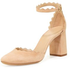 Chloe Lauren Scalloped d'Orsay Pump featuring polyvore women's fashion shoes pumps reef shell high heel shoes almond toe pumps ankle strap shoes block heel pumps strap pumps