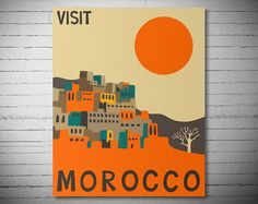 Visit Morocco Travel Poster Poster Paper Sticker or by WallArty
