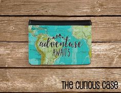 Passport Cover Adventure Awaits Vintage Map by CuriousCaseGifts