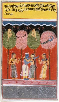 ca. 1630–40    The Gita Govinda describes this encounter between Krishna and a Gopi:    A girl with curving hips, bending to whisper in his ear,  Cherishes her kiss on her lover's tingling cheek.  Hari revels here as the crowd of charming girls  Revels in seducing him to play. (canto 1, verse 41), MEt