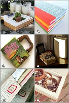 Geek Crafts: Recycled Book Roundup #books #crafts #recycle 1. How To Make Your Own Book Planters for Succulents from Apartment Therapy 2. Upcycled Book Journals from Rook No. 17 3. How to Make a Handbag out of a Recycled Book from Curbly 4. How To: Not Your Ordinary Book Light from Grathio Labs 5. Book Page Pockets from Family Economics 6. Book Jewelry Box from Sincerely, Kinsey