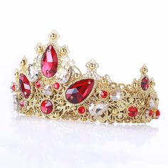 Red Dolce Crown Baroque Rocooco Gold Filigree Pearl Red Crystal Swarovski Crystal Tall Crown headband baroque red gold crown, wedding crown  Fantastic hair accessories for weddings, prom, parties or other special occasions.  - Handmade - Size: 7cm (2.7) high. - Tiara (open front the back) flexible. - **100% FULL MONEY BACK GUARANTEE** Unlike others sellers, WE STAND behind our brand ILoveCrowns and provide 100% FULL MONEY BACK guarantee, if, For Whatever Reason, You dont Absolutly Love your…