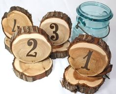 Wedding Table Numbers, Rustic Cedar Circles, Set Of 14, Natural Unfinished Cedar…