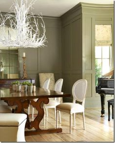 decorating with piano rustic | Here's another dining room, this time with a White Twig Chandelier ...
