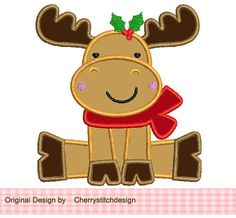 Christmas Reindeer Applique -4x4 5x7 6x10-Machine Embroidery Applique Design on Etsy, $2.99