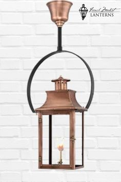 If you love the look of a light fixture hanging with a yoke- this lantern is for you. Created for those who pay attention to the details this modern style fixture will add style to your home's exterior. Hang on a front porch or back deck. Modern Lanterns, Gas Lanterns, Large Lanterns, Hanging Lanterns, Copper Lantern, Copper Glass, Gas Lights, Hanging Light Fixtures, Gas And Electric