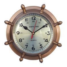 50 Nautical Wall Clocks Discover The Best Nautical Themed Clocks For Your Beach Home We Have Nautical Clocks I Wheel Clock Nautical Clocks Handcrafted Decor