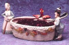 cranberry bowl in the Pilgrims Progress pattern by Fitz/floyd
