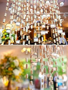 wine cork garland and hanging candles