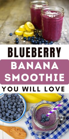 How to make you a super fast and healthy blueberry banana smoothie or blueberry banana smoothie thick sake. basically, this recipe is blueberries and bananas and we'll also gonna throw in a couple of other ingredients. which makes them so rich and delicious. So it's very easy to make and you can make this at night or you can prepare all the ingredients the night before. Then just give it a whirl in the morning right before you step out for work or for your day before school or whatever. Blueberry Banana Smoothie, The Night Before, Beverages, Make It Yourself, Recipes, Recipies, Ripped Recipes, Cooking Recipes