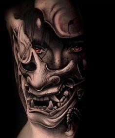 Tattoos And Body Art japanese tattoo art Samurai Maske Tattoo, Hannya Maske Tattoo, Samurai Tattoo Sleeve, Samurai Warrior Tattoo, Hannya Tattoo, Warrior Tattoos, Oni Mask Tattoo, Demon Tattoo, Norse Tattoo
