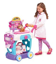 One of the must-buy toys on children's wish list according to Walmart's Hottest 25 Toys list for 2016 is the Doc McStuffins Hospital Care Cart. Kids love the idea of helping their stuffed animals get well again when they're sick. Baby Girl Toys, Toys For Girls, Kids Toys, Baby Dolls, Girls Fun, Children Play, Toys Uk, Buy Toys, Doc Mcstuffins Toys