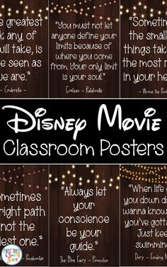 Disney Movie Quotes Posters Inspirational Walt Disney Quotes Bring the magic and wonder of your favorite Walt Disney movies into your classroom with this cute set of in. Disney Classroom, Classroom Quotes, Future Classroom, Classroom Themes, School Classroom, Walt Disney Movies, Walt Disney Quotes, Quotes From Disney Movies, Disney Sayings