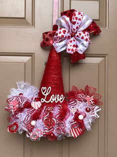 Your place to buy and sell all things handmade - Valentines Day hat Valentines Day wreath Valentines Day door Elf Christmas Decorations, Christmas Angel Ornaments, Valentine Decorations, Christmas Crafts, Candy Wreath, Diy Wreath, Wreath Ideas, Deco Wreaths, Holiday Wreaths