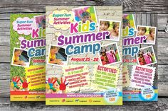 Kids Summer Camp Flyers by kinzi21 on @creativemarket