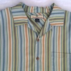Tommy Bahama mens hawaiian shirt multicolored stripes short sleeves 100 % silk M   eBay