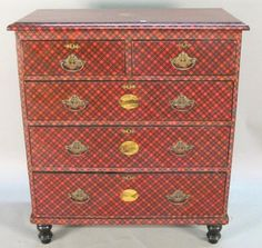This early 20th century antique chest of drawers is decoupaged in Tartan Plaid. A similar larger scale application could be done on a laquered bar or desktop in a guest room. Or, a flanking pair of wildly oversized demilune chests with large floral sprays atop in a lobby enterance could pay homage to the family plaid.