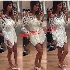 Resultado de imagem para vestido branco de croche