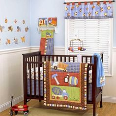 Cars And Trucks Themed Baby Boy Nursery 4pc Plaid Construction Crib Bedding Set Cribs