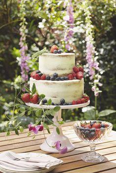 Semi naked cake - Cakes by Krishanthi Photography: Meg MacKay Fruit Wedding Cake, Unique Wedding Cakes, Beautiful Wedding Cakes, Wedding Cake Designs, Beautiful Cakes, Wedding Ideas, Wedding Desserts, Wedding Trends, Wedding Inspiration