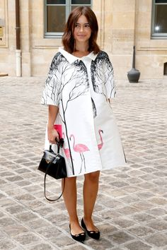 Pin for Later: Could This Fashion Comeback Be the Death of the Crop Top? Miroslava Duma Street Style OK, not technically a poncho, but for Schiaparelli, the street-style darling donned a voluminous flamingo-print coat with the same feel.