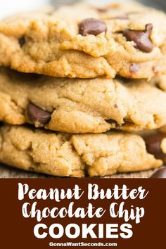 old-fashioned, thick, chewy peanut butter chocolate chip cookies have an amazing texture and taste. Easy to make, stay soft for days - a top 10 Fav! Soft Peanut Butter Cookies, Easy Chocolate Chip Cookies, Chocolate Chip Recipes, Peanut Butter Chips, Best Peanut Butter Chocolate Chip Cookie Recipe, Desserts With Chocolate Chips, Peanut Butter Desserts, Brownie Cookies, Cookie Bars