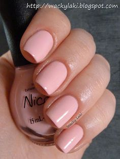 """Wacky Laki: Nicole by OPI:""""Up & Kim-ing Pink""""  A sweet pastel pink cream. It was opaque in two coats, however, I used three coats to even everything out. This does need a light touch when applying to prevent streaking and dragging near the cuticles. I can't get enough of this shade of pink lately. This is with a top coat."""