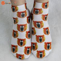 3D Sock Print Lovely Cat Contrast dimensional cartoon Color Women Socks Casual