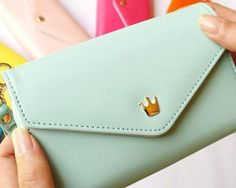 LADIES CROWN PURSE WITH STRAP SMART PHONE WALLET POUCH CASE BLUE GREEN