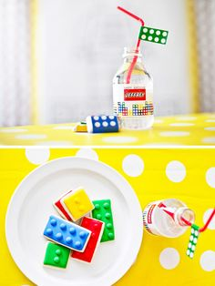 Lego Party! Cute drink idea! #LegoDuploParty