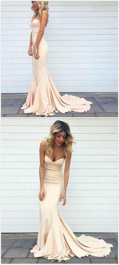 Sweetheart Trumpet/Mermaid Stretch Satin Prom Dresses 2017