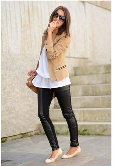 Structured camel blazer + black leather.
