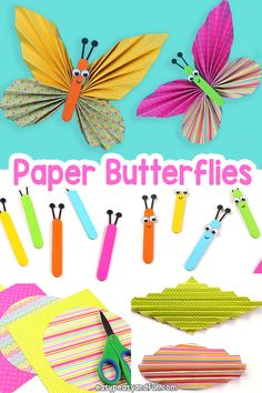 Learn how to make simple paper butterflies with scrapbook paper hers . - Learn how to make simple paper butterflies with scrapbook paper, - Arts And Crafts For Teens, Valentine Crafts For Kids, Easy Arts And Crafts, Spring Crafts For Kids, Paper Crafts For Kids, Summer Crafts, Paper Butterfly Crafts, Paper Butterflies, Art And Craft Materials