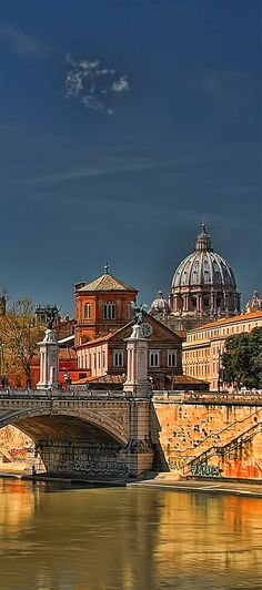 Rome: The Tiber and St. Peter's Cathedral, Rome, Italy