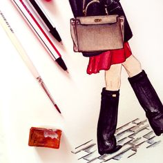 #dollmemories #hermes #givenchy #boots #red #fashion #fashionillustration