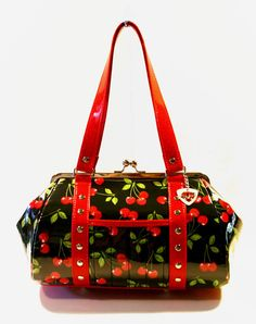 Cherry Handbag Vinyl Trim Kisslock Frame by HOLDFASThandbags, $140.00