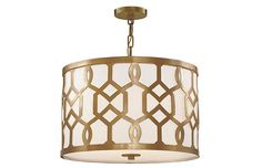 Jennings 3 Light White Linen Aged Brass Chandelier part of the new Libby Langdon Lighting for Crystorama. The Jennings collection features a timeless polished nickel pattern that gives a grpahic feel Drum Shade Chandelier, Brass Chandelier, Chandelier Lighting, Chandeliers, Entry Lighting, House Lighting, Outdoor Lighting, 3 Light Pendant, Drum Pendant