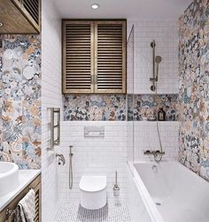 homedesigning: (via 2 Provence Style Apartment Designs With Floor Plans- Colourful Bathroom) Bathroom Toilets, Bathroom Renos, Bathroom Flooring, Small Bathroom, Bathroom Ideas, Colorful Bathroom, Half Bathrooms, Restroom Ideas, White Bathrooms