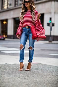 9bbc32a4542b Blogging Series  How I Started My Blog - Outfit details  Shopbop Red  Striped Top    Gucci Belt    Levi s Jeans    Celine Sunglasses    Celine  Bag ...