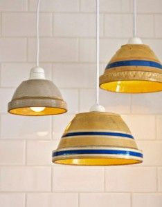 mixing bowl pendant lights and I found the perfect one at Target...it goes right over my sink!
