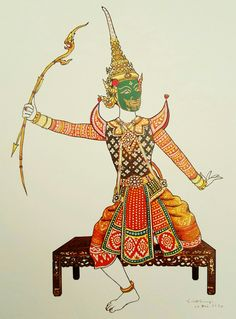 """""""Indrajit in disguise"""", 1977, watercolor on paper, by a Thai national artist Chakrabhand Posayakrit"""