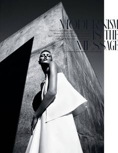 Anja Rubik photographed by Mario Sorrenti for The NY Times T Style Travel Spring 2013  Top and skirt: Jil Sander