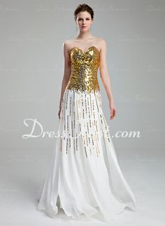 A-Line/Princess Sweetheart Floor-Length Chiffon Prom Dress With Sequins (018019682)