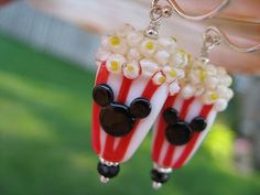 Fireworks Favorite Popcorn Mickey Lampwork Glass Beads Jewelry Sterling Silver Mickey Earrings Disney Theme. $40.00, via Etsy.
