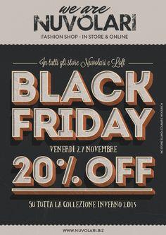 Black friday 27 novembre. Sconto 20% sulla collezione inverno 2015. @nuvol