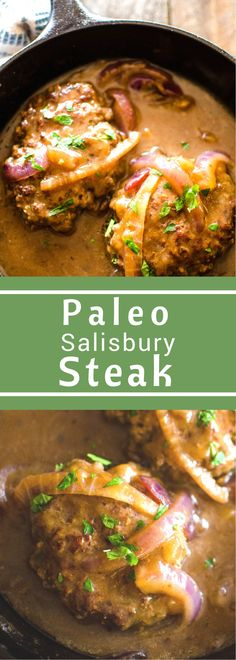 Paleo Salisbury Steak is the definition of comfort food. No one will guess this silky gravy has no flour. Gluten free, paleo, and whole30 friendly this is one delicious skillet dinner! #SundaySupper