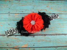 Baby Headband - Black & Red Chiffon Headband - Newborn - Infant - Toddler - Girl - Teen - Adult - Photo Prop