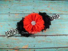 Baby Headband - Black & Red Chiffon Headband - Newborn - Infant - Toddler - Girl - Teen - Adult - Photo Prop