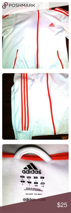 Adidas track jacket White Adidas track jacket. Red Adidas stripes. Red Adidas logo. True to size. Great condition never worn Adidas Jackets & Coats Performance Jackets